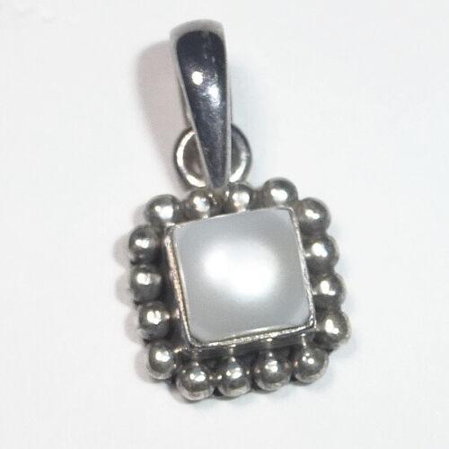 Silpada Sterling Silver White Pearl Button Frame Pendant Retired 925
