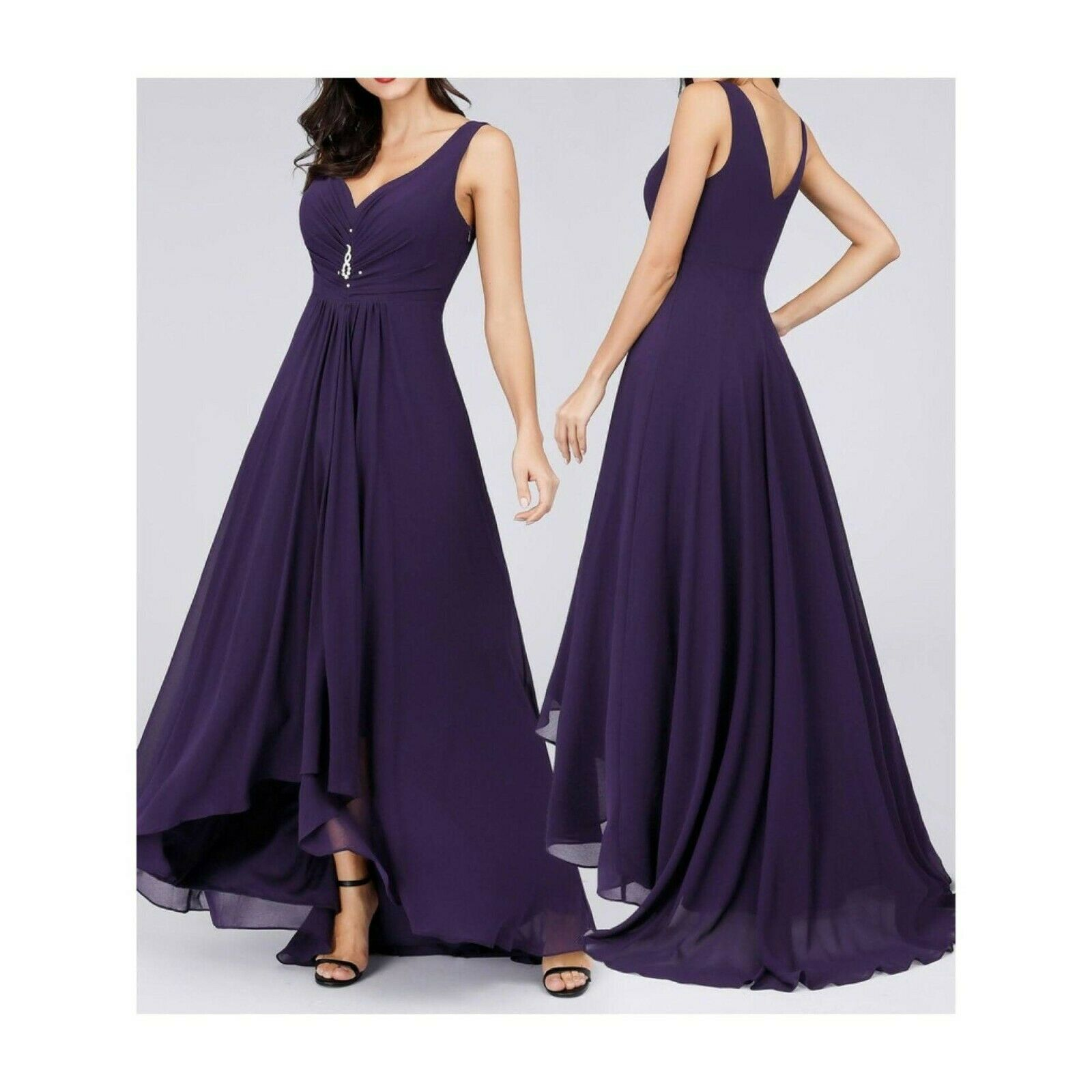 Ever-Pretty High Low Low Simple Chiffon Maternity Party Dress Sz 10 Dark Purple