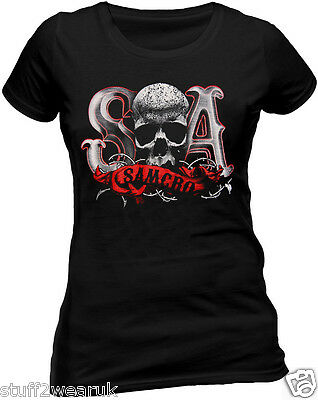 OFFICIAL Sons Of Anarchy Duo Tone SOA Thorns T Shirt Ladies Reaper Samcro Skull