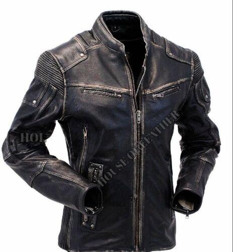 Mens Warm Vintage Biker Style Motorcycle Cafe Racer Distressed Leather Jacket