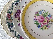 """Set 4 Vtg Mismatched China Salad Dessert Cake Plates 8"""" to 8.5"""" Colorful Florals"""