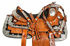 "NEW 16"" SILVER CUSTOM EQUITATION WESTERN PLEASURE SHOW HORSE SADDLE LEATHER TACK"