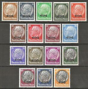 DR-Nazi-3rd-Reich-Rare-WW2-Stamp-Hindenburg-Medalion-Elsas-Overprint-Classic-Set