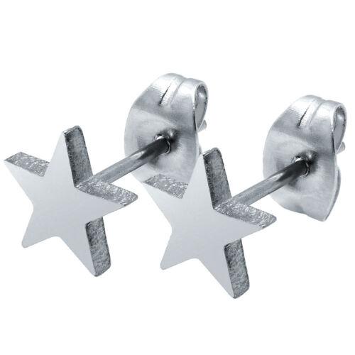 1 Par Pendientes Estrella Estrellas Asterisco Acero Inox Piercing Plata Negro