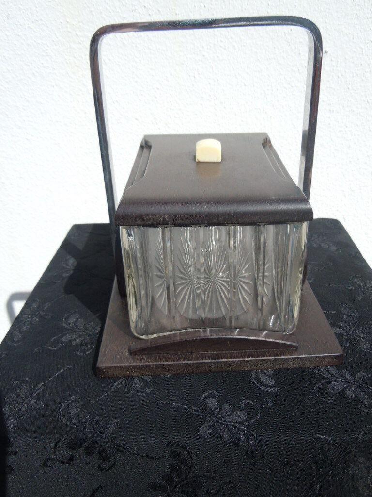 Boite coffret moderniste cristal bois anse métal chromé style adnet