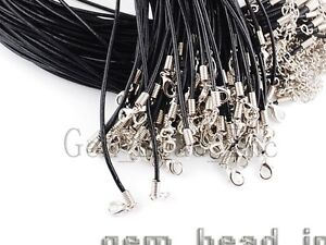 Bulk-Lots-Black-Leather-2mm-Cord-Lobster-Clasp-Fit-Pendant-Necklace-Chains-16-5-034