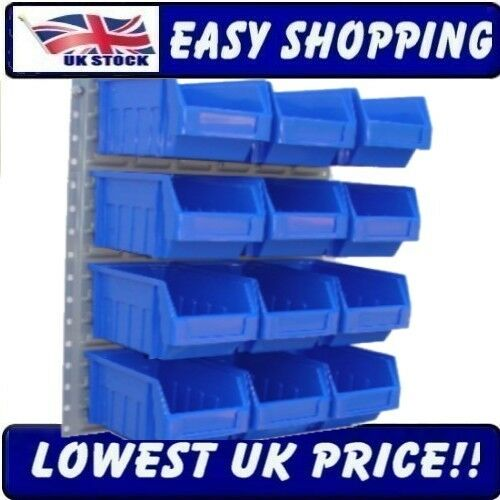 12 Large Blue Plastic Parts Bins Wall Kit Steel Louvre Modieuze Patronen