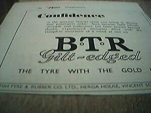 ephemera-1952-advert-B-T-R-british-tyre-amp-rubber-gilt-edged