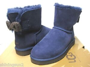 Image is loading UGG-BAILEY-KNIT-BOW-WOMEN-SHORT-BOOTS-SUEDE-