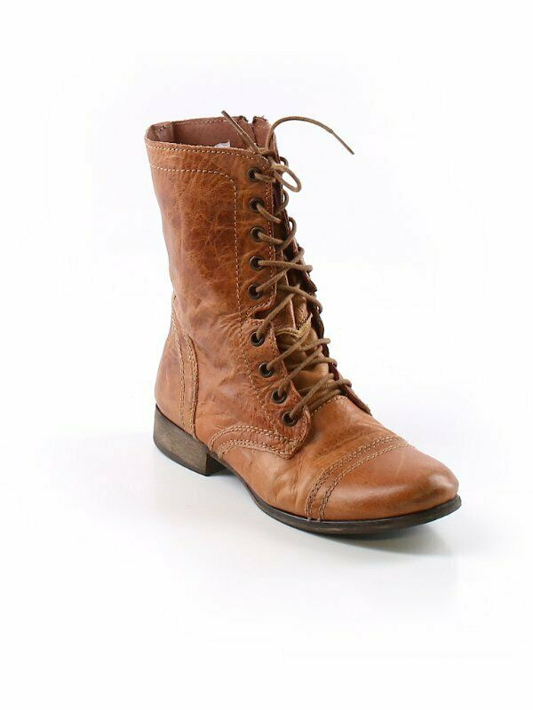 STEVE MADDENCarmel Brown Textured Leather Lace Up Grunge Ankle Boots  8