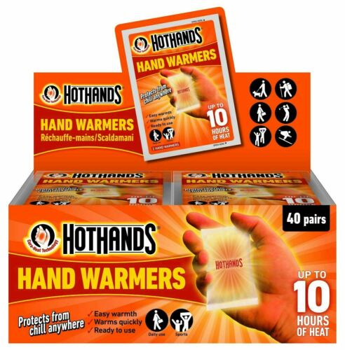10  x Pairs Hot Hands Hand Warmers Up To 10 Hours of Heat-Safe Natural