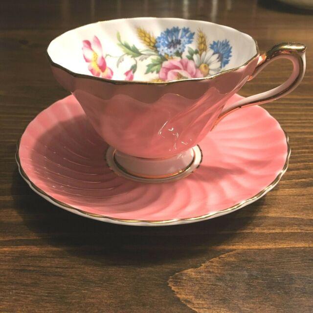 Antique Aynsley Elegant Cup & Saucer England Pink Swirl with Pink Wild Rose VTG