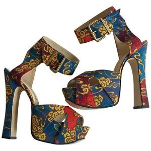 Blue Gold and Red Platform Sandals