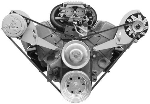 Alan Grove SBC Chevy LOW Steel AC Air Compressor Alternator Bracket 213L 113R