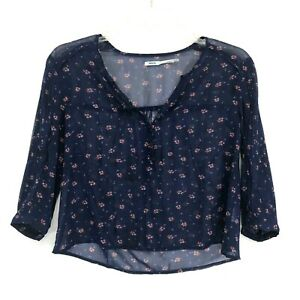 KimChi Blue Sheer Top Womens Size S Small Blue Floral Button Neck 3/4 Sleeve