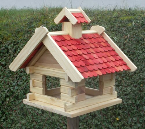 Vogelhaus - Futterhaus - Vogelhäuschen - Holz - Rot - L 29 X 40 X 36 cm