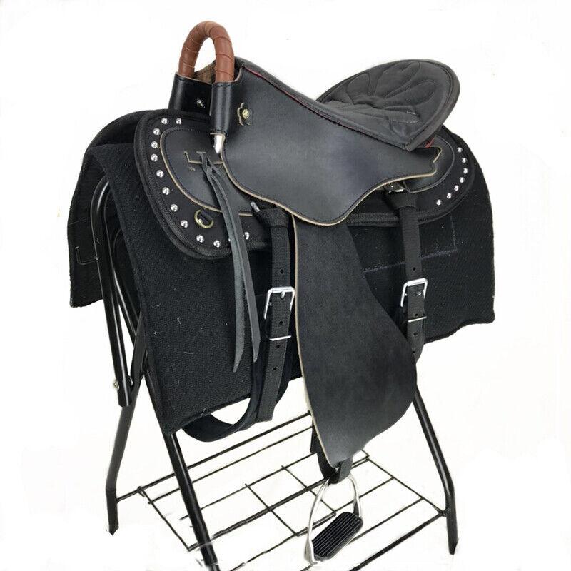 Dimensioni 14 fino a 18 POLLICI SELLA Set Premium Pelle Sedile Western RACING HORSE imprescindibile