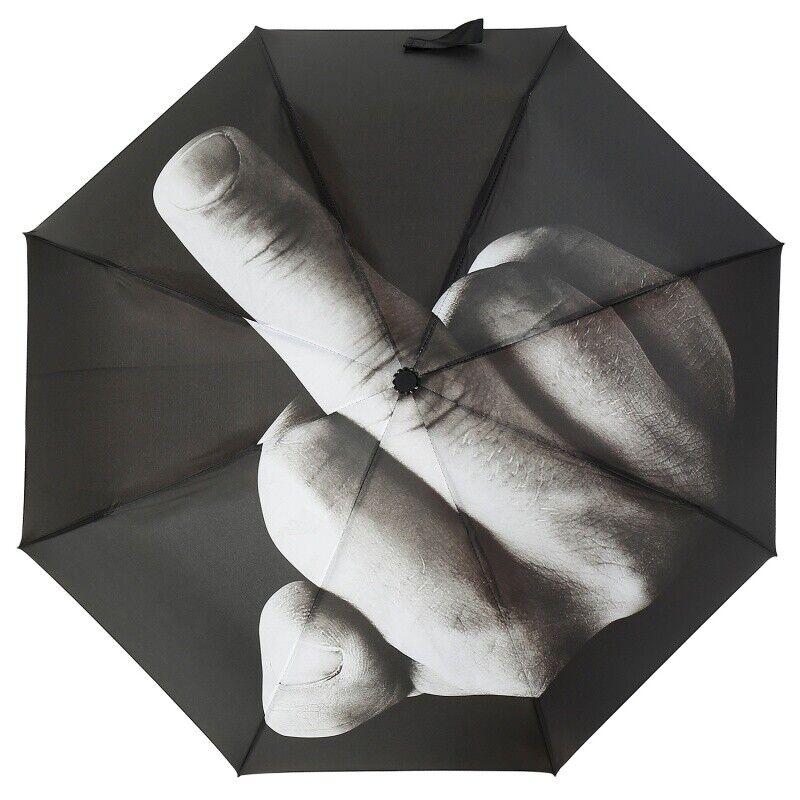 Large Umbrella Middle Finger Three Folding Anti-UV Windproof Big Rain Umbrella
