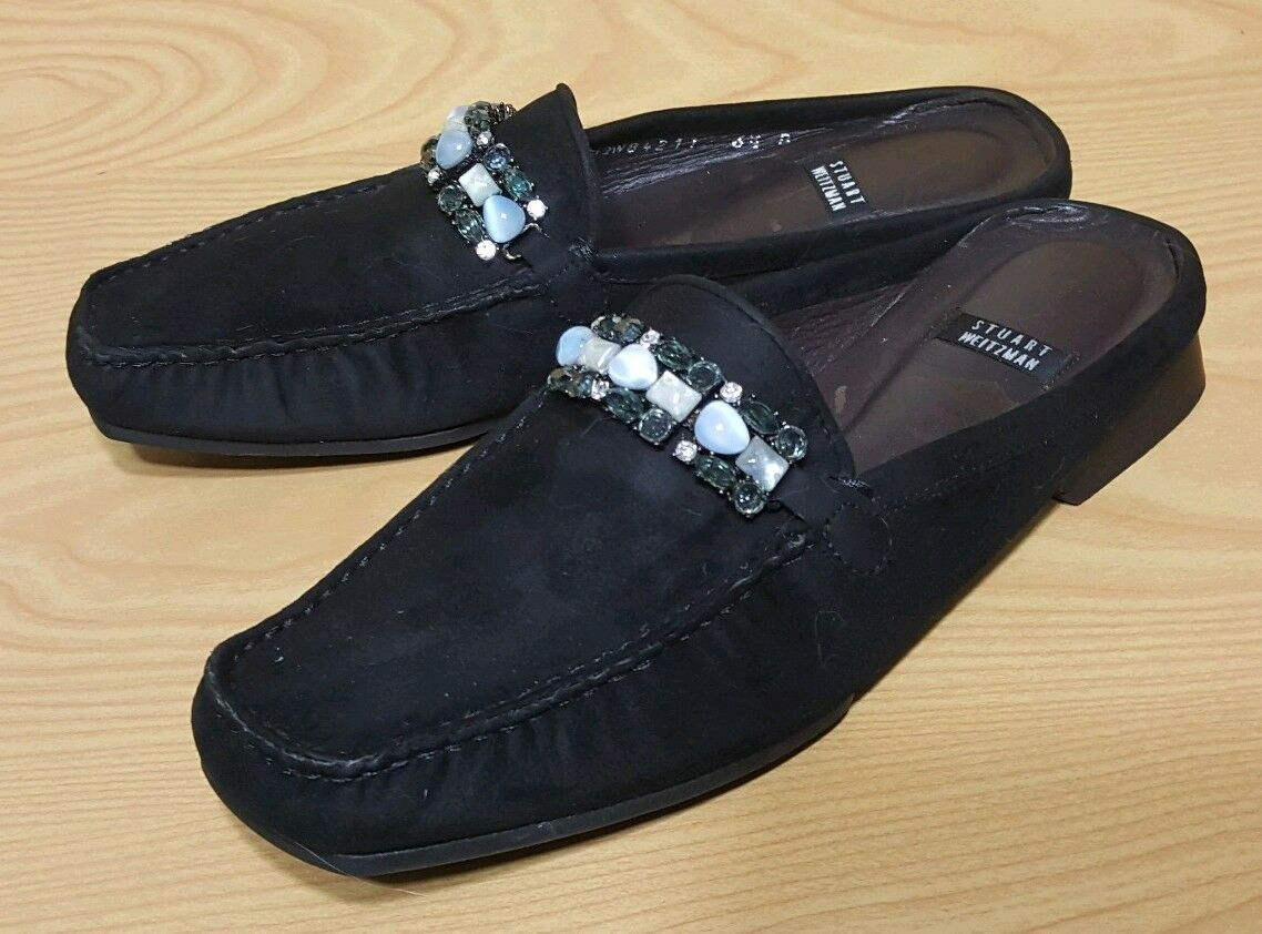 Stuart Weitzman Spain Black Suede Leather Mules Slip On Women's shoes 6.5 B