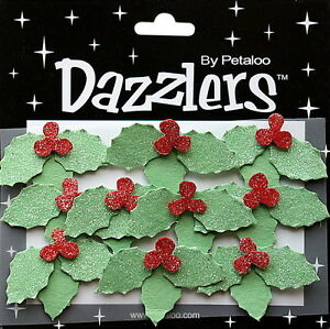 10-HOLLY-amp-BERRIES-RED-amp-GREEN-Sparkle-45x30mm-CHRISTMAS-Sticker-Petaloo-L6