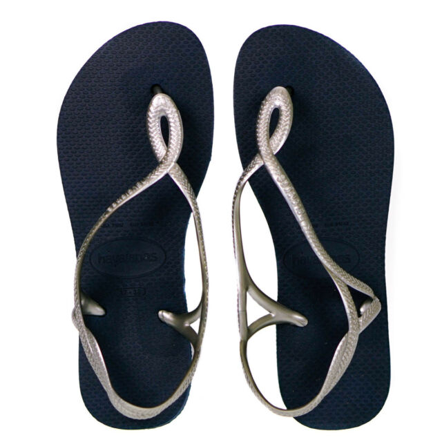 99504b3cfaac Havaianas Luna Women s Flip Flops Sandals With Back Strap. Uk5 Navy ...