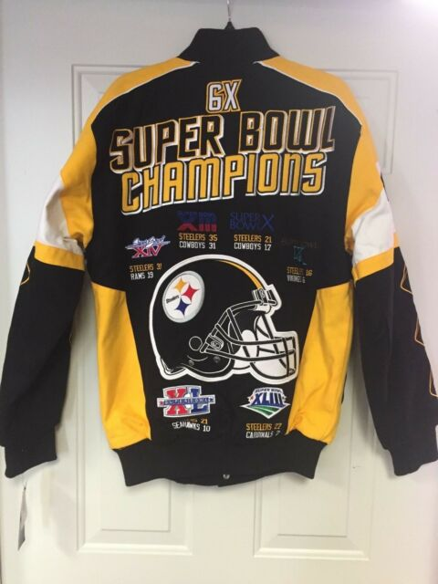 finest selection 62591 bbaa5 Pittsburgh Steelers G-III Legacy 6 Time Super Bowl Champions Cotton Twill  Jacket L