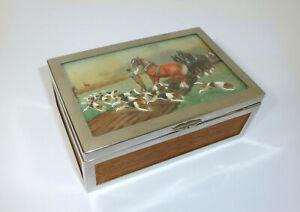 Unusual-Casket-um-1910-England-Hand-Painted-Hunting-Hunting-Dog