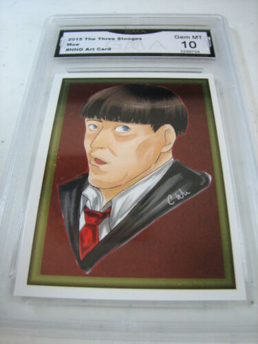 MOE HOWARD 2015 CHRONICLES OF THE THREE 3 STOOGES FOIL ART GRADED 10 C