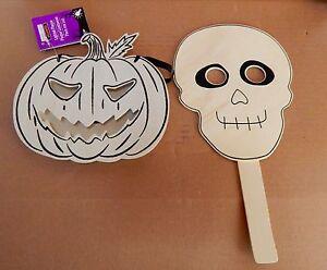 Halloween Wooden Craft Projects Creatology 2ea Skull Mask Pumpkin Plaque 47I
