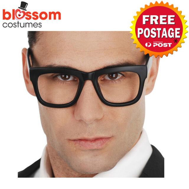 AC715 Clark Kent Black Glasses Superman Nerd Geek Emo 60s 70s Costume Accessory