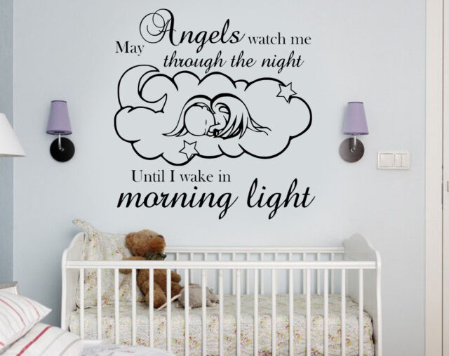 wall art diy vinyl/decal sticker baby nursery/kids guardian angels