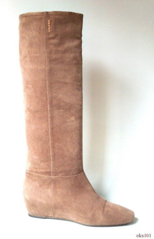 NEUF PRADA beige taupe logo en cuir petit talon compensé bottes 38 US 8-très confortables