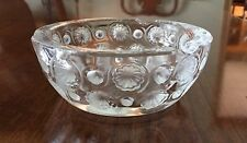 """LALIQUE """"TOKYO"""" CLEAR & FROSTED CRYSTAL Art Deco Dots 5.25"""" Signed Ashtray"""