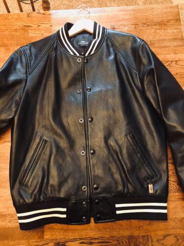 Coach Leather Varsity Bomber Moto Jacket Black | M