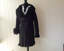 $2995 NWOT AUTH DKNY BLACK CURLY LAMB SHEARLING  FUR COAT ZIPPER JACKET  Sz M