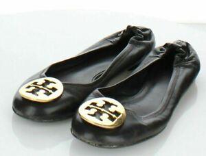 X4 $225 Women's Sz 8 M Tory Burch Reva Leather Ballet Flats In Brown/Gold