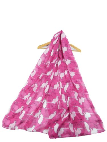 LADIES  SCARF WITH CUTE CATS CAT DESIGN SUPERB SOFT QUALITY 3 COLOUS