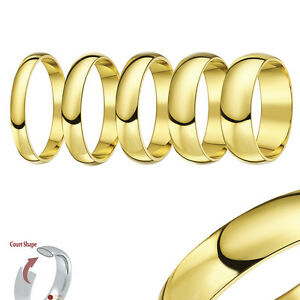 9ct Yellow Gold Ring Wedding Band Solid Heavy Weight Court Shaped Comfort