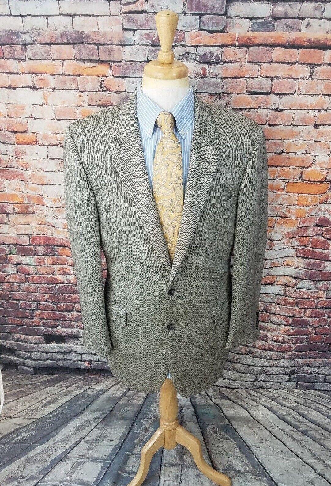 Jos A Bank Signature 42L Grau Herringbone SILK CAMELHAIR Sport Coat Blazer EUC
