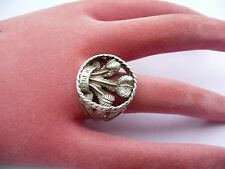 SUPER MENS SOLID SILVER PRINCE OF WALES FEATHERS SIGNET RING SIZE X 21.12MM DIA