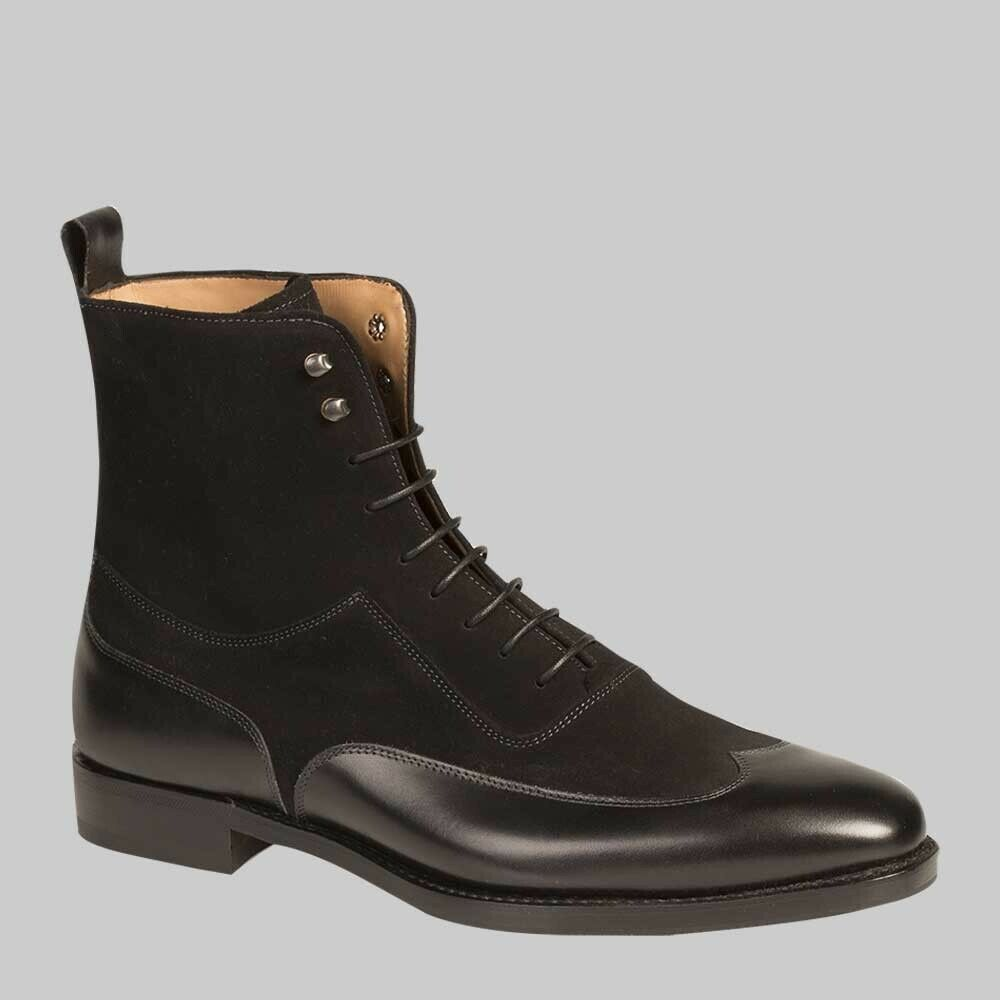 Para hombres Cuero Negro Hecho a Mano botas al Tobillo Wing Tip acordonados formal wear Informal Zapato