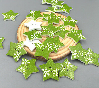 Green Wooden Buttons Star Sewing Scrapbooking Crafts decoration 2-Hole 26mm