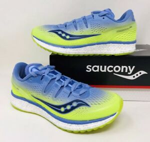 Grey Purple Saucony Womens Freedom ISO 2 Running Shoes Trainers Sneakers