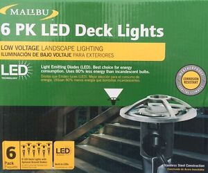 6 Pack Malibu Low Voltage Deckpath Lights Stainless Steel New