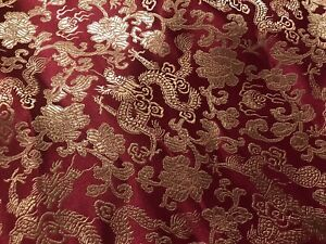 Burgundy-Gold-Dragon-Brocade-Fabric-45-Width-Sold-By-The-Yard