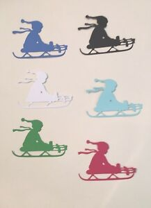 Child On Toboggan Sled Winter Christmas Die Cuts 12 Pcs