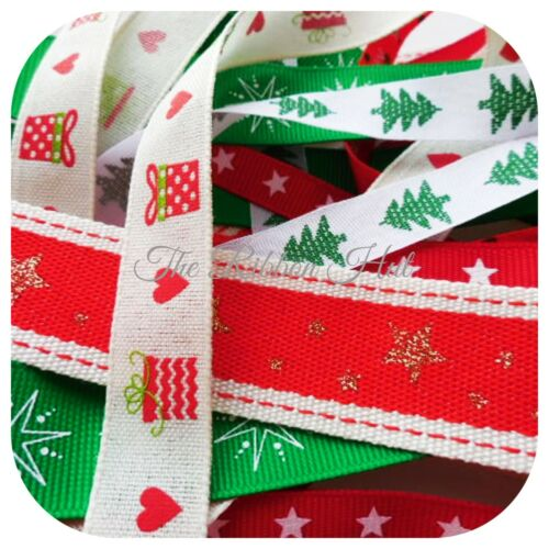 Christmas Ribbon Bundle//Pack 8 pieces X 1 metre long-10mm-25mm