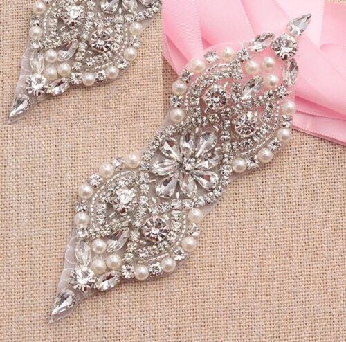 SALE Silver Bead Pearl Bridal Applique Diamante Rhinestone Headband Wedding Belt