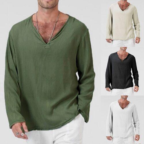 Men Summer Fit T-Shirt Cotton Linen Loose Shirt V-Neck Beach Yoga Tops Blouse 12