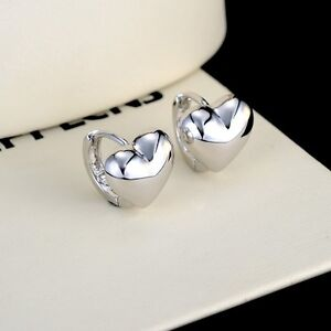 Women/'s Smooth Hoop Earrings 18k White Gold Filled GF 14MM Fashion Jewelry